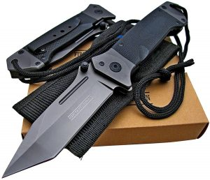 Tactical Spring Assisted Opening Knife: Black G-10 Handles - Razor Sharp Tanto Blade - Every Day Carry - Includes Landyard and Heavy Duty Cordura Sheath. Bundle – 2 items: 1 knife and 1 sheath